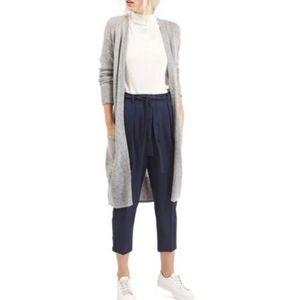 Topshop Lulu Belted Knit Gray Long Cardigan